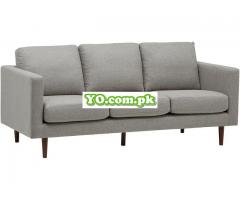 "Rivet Revolve Modern Upholstered Sofa Couch, 80""W, Grey Weave - Image 1"