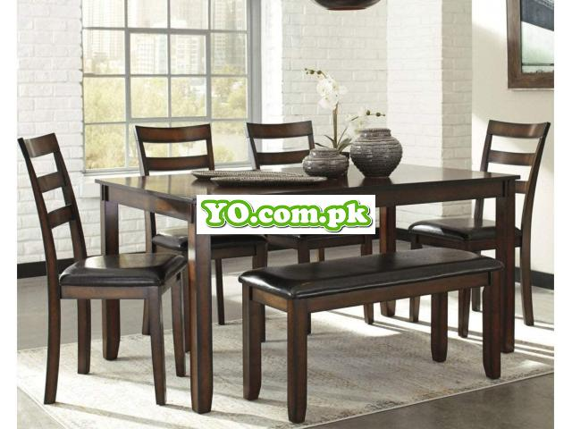 Signature Design by Ashley Coviar Dining Room Table and Chairs with Bench (Set of 6), Brown - 2