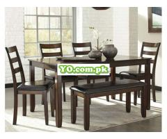Signature Design by Ashley Coviar Dining Room Table and Chairs with Bench (Set of 6), Brown - Image 2