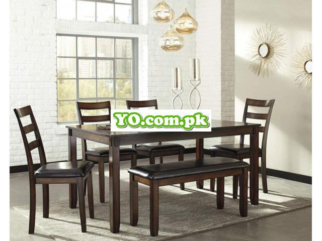Signature Design by Ashley Coviar Dining Room Table and Chairs with Bench (Set of 6), Brown - 3