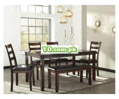 Signature Design by Ashley Coviar Dining Room Table and Chairs with Bench (Set of 6), Brown - Image 3
